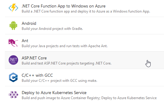 "Choose ""ASP.Net Core"""