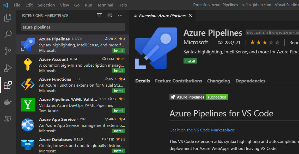Azure Pipelines extension for Visual Studio Code